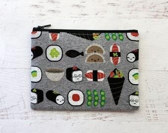 Kawaii sushi pouch - cute zipper pouch - gray zippered bag - sushi bag - gift for bestie - card holder - sushi wallet - change purse - pouch