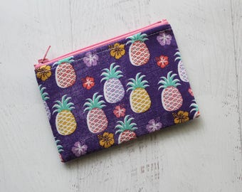Pineapple print bag - cute zippered pouch - pineapple pouch - purple zip pouch - cute pineapple zippered bag - coin purse