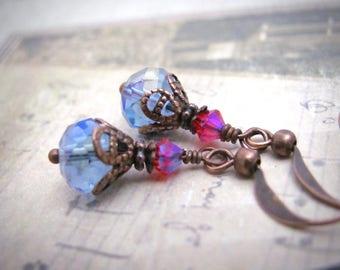 Crystal Earrings Boho Bohemian Dainty Dangle Drops Blue Crystal Antiqued Copper, Stocking Stuffer, Under 10,Gift for Her Woman Teen Tween