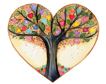 Tree of Life Print high quality giclee art heart  watercolor painting Lauren Ingraham