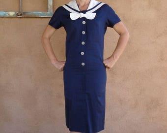 ON SALE Vintage 1960s Sailor Dress Nautical Navy Blue xSmall US0 2