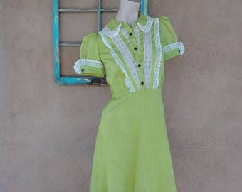 ON SALE Vintage 1940s Dress 40s Chartreuse Polka Dot Cotton Day Dress US 4 B 34 W26