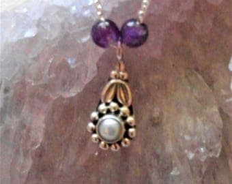 Small Sterling Flower Charm with Freshwater Pearl and Purple Amethyst Beads on Sterling Silver Chain Necklace