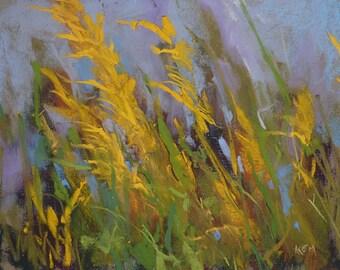 Late Summer Goldenrod wildflowers Landscape Original Pastel Painting Karen Margulis 8x10
