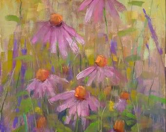 Summer Landscape Purple Coneflowers  Original Pastel Painting Karen Margulis