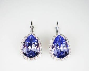 SUMMER SALE Provence Lavender Rhinestone Earrings Swarovski Drop Earrings Lavender Periwinkle Wedding Jewelry Bridesmaid Earrings MADE To Or