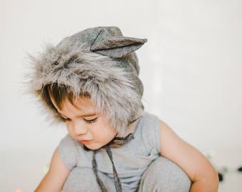 Wolf Bonnet, Brimless Bonnet, Wolf Costume, Wolf Hat, Wolf Baby, Wolf Fur, Child Wolf, Little Wolf, Bonnet Wolf, Wolf Dress Up, Fur Bonnet