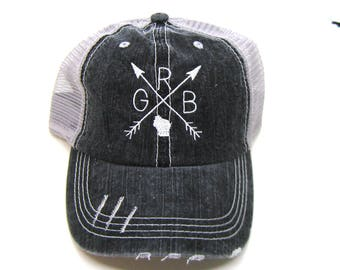 Clearance - Sale - Gift - Gracie Designs Hat - Green Bay Arrow Design distressed trucker hat
