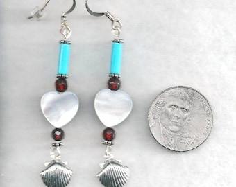 ON SALE Shell & Turquoise Earrings, Heart Shell Earrings, Heart Earrings, Valentine Earrings, Turquoise Earrings