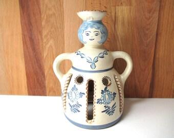 Tealight & Oil Burner Ceramic Woman Candle Holder Vintage Votive Incense Burner Ceramic Figure Woman Housewarming Gifts Figural Blue White