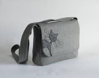 Gray  linen messenger, cork leather cat applique, vegan, small purse, black cat bag, cruelty-free cork leather, linen purse, handbag