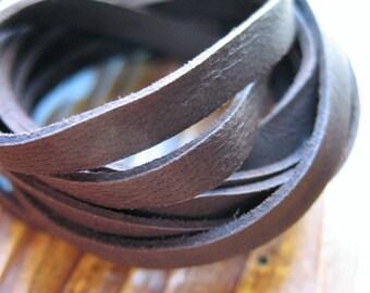 Buckskin Strap Footage in Tobacco Brown - 5mm Flat - 1 foot