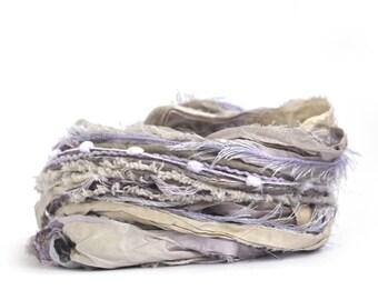 Creative Yarn Inspiration Pack, Fairy Dust, 30 metres assorted cut yarns, lilac purple, lavender grey, trim, embroidery art yarn bundle, uk