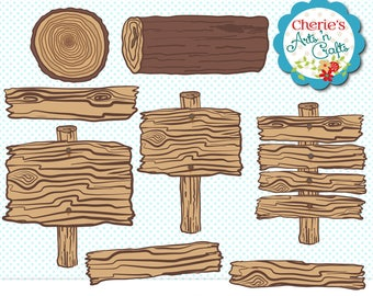 Wood Logs and Signs Clip Art | Fall Clipart | Designer Resources | Digital Scrapbooking Elements | Rustic Wood Graphics | Rustic Fall Signs