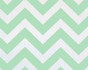 ON SALE - 10% Off Premier Prints Zig Zag Mint Green White Twill Chevron Stripe Home Decorating Fabric BTY