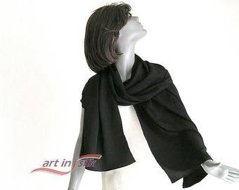 "Long Black Silk Shawl Evening Stole, Formal Coverup Crepe Wrap, 100% Pure Silk, Special Occasion 21"" X 69"", M Medium, L Large, Artinsilk"