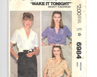McCall's Misses' Blouses Pattern 6984