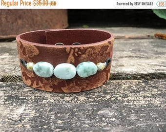 CRAZY SALE- Beaded Leather Cuff-Embossed Leather