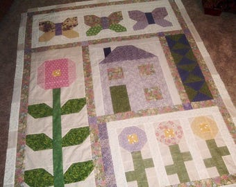 Quilt Top to Finish Folk Art House Flowers Butterflies 50 x 67 inches