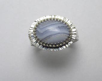 Lace Agate cabochon halo Polished Sterling Silver gemstone ring Twisted Bark Finish 3.88 ct Sz 8