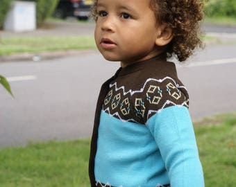 Vintage DEAD STOCK 1960's Chocolate & Baby Blue Cardigan Age 18 - 36 Months 2-3 Years  (213)