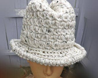 Crochet Fedora Hat Womens Fedora Hat, Floppy Hat Wide Brim Hat, Crochet Hat Womens Hat Trendy, Andy Ivory Tweed Hat