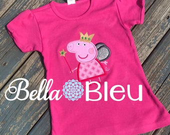 Peppa Pig Birthday Shirt, Peppa Pig Custom Birthday Tee, Peppa Pig Shirt for Children Girls Inspired Fairy Peppa Pig