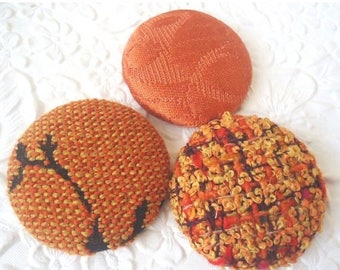 CLEARANCE - Orange buttons, rust buttons, fabric buttons, wool button, size 60 buttons, set of 3 buttons