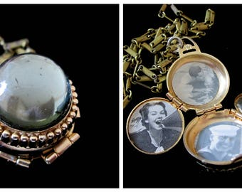 Black Diamond 4 Picture Locket Necklace - Vintage