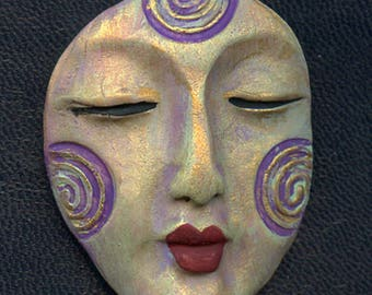 Polymer OOAK Buddha Face  Cab  Textured and Abstract  AAB 4