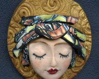 OOAK Polymer clay Detailed Caned hat face cab ANGOG 6