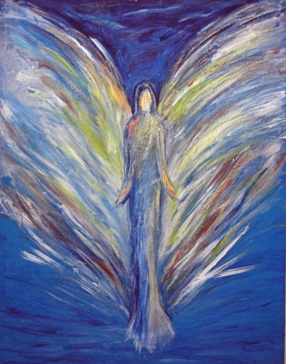 Angel Cheerful Spirit Vision of Angels Print of an Original Painting by artist BenWill