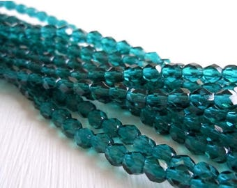 20% Summer SALE Czech Beads - Viridian Blue Firepolished 4mm Beads - 50 beads