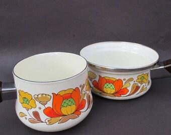ON SALE Vintage Sanko Ware Enamelware Sauce Pans Orange Floral Flower Enamel 60's 70's Pair Set of 2