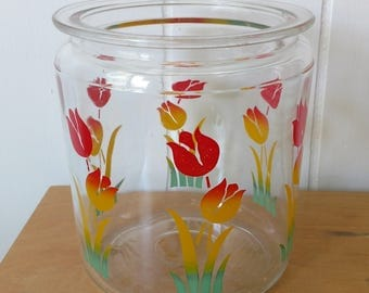 vintage glass tulip jar