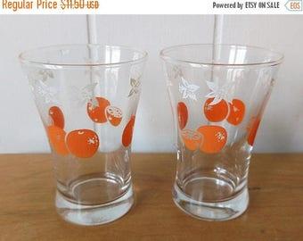 LOVE SALE 2 vintage orange juice glasses