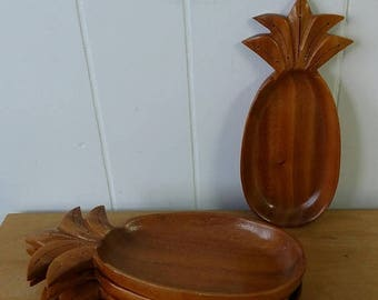 LOVE SALE 4 vintage wooden pineapple trays with toothpick holders