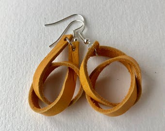 Yellow Suede Leather Earrings