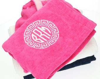 Monogrammed Towel Wrap | Womens Personalized Bath Wrap | Embroidered Towel Wrap | Monogram Pink, White or Navy Spa Wrap | Dorm Shower Wraps