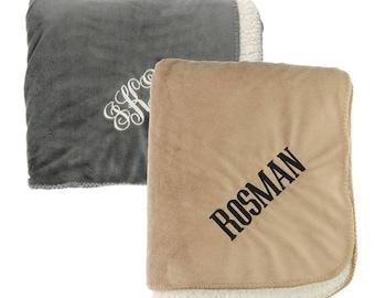 Monogrammed Sherpa Fleece Blanket   Personalized Tan or Gray Sherpa Velour Throw Blanket   Beige Personalized Throw Blanket   State Blanket