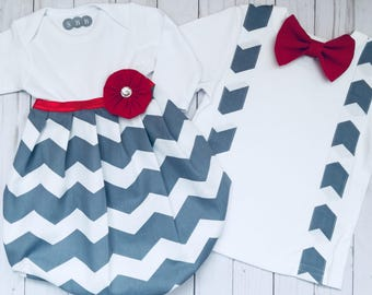 Boutique SIBLING SET..Brother sister outfits..Baby gown and bow tie suspenders t-shirt... in grey chevron with red accents