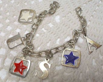 Vintage Patriotic Themed Stars & Initials U.S.A. Charms Bracelet Red White Blue