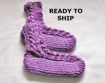 Womens Slippers Bedsocks, Hand Knitted Pretty Purples, Ladies Size 8 - 9 Wider Foot and Wider Cuff