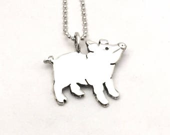 Thoughtful Pig Pendant made from Vintage Silver US Half Dollar Coin