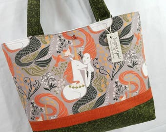 Mermaid and Unicorns Bags by April tote bag So Lovely! Green and Orange