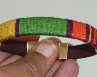 Khemet - thread wrapped leather bracelet with antique brass clasp and accents