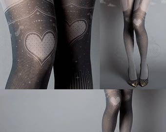 ON SALE/// Tattoo Tights, Burlesque Heart garters print Asphalt thigh highs illusion one size full length printed tights pantyhose, by tatto