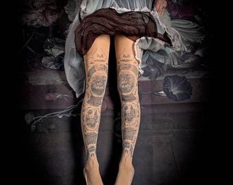30%off/endsJUL23/ Tattoo Tights -  China Doll one size nude full length printed tights, pantyhose, nylons by tattoosocks