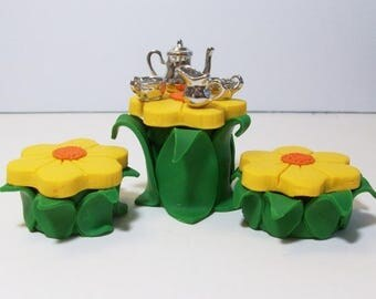 SUMMER SALE 20 % off Fairy or gnome Garden miniature wood table with tree stump chairs and table setting