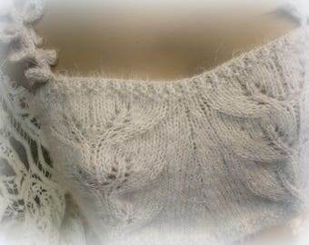 Sixteen Vestal Virgins festival bra coachella couture hand knit knitted by hand barely gray softest raggy yarn crocheted straps SMALL